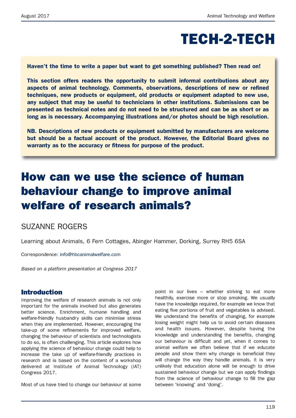 August 2017  Animal Technology and Welfare  TECH-2-TECH Haven   t the time to write a paper but want to get something publ...