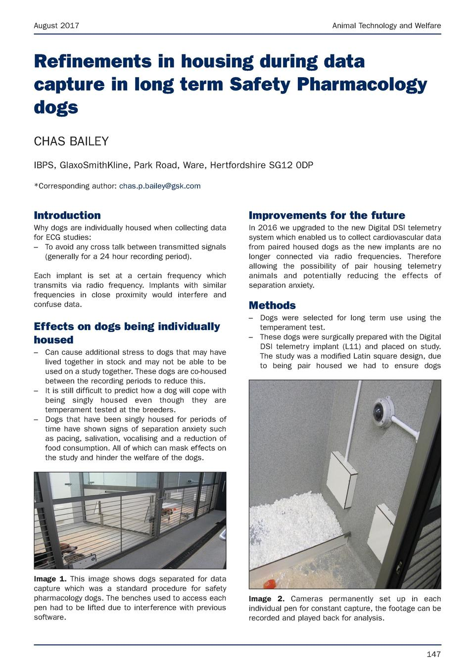 August 2017  Animal Technology and Welfare  Refinements in housing during data capture in long term Safety Pharmacology do...
